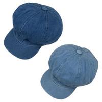 chapéu de boina homem azul venda por atacado-Mulheres Homens Vintage Washed Blue Jeans Beret Cap clássico 8 do painel octogonal Newsboy Painter Cabbie ajustável Plano Sun Visor Hat