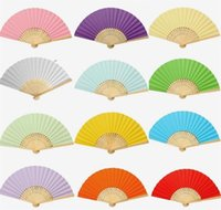 Wholesale china make up color for sale - Group buy Hand Made Preschool Articles Fan Multi Color Painting Diy Paper Fans Blank Folding Without Wearing Make Up For Kids ky BB