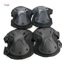 equipo de protección táctico al por mayor-¡4pcs / set !!! Protector de rodilla moto mejor calidad! rodilla codo Tactical paintball protecciones protecciones almohadillas codos NEGRO