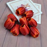 tulipas brancas artificiais venda por atacado-Multi Cores Simulado Tulipas Home Office Decoração Flores Decorativas Pastoral Estilo Amarelo Branco Artificial Tulipa Nova Chegada 0 6th L1