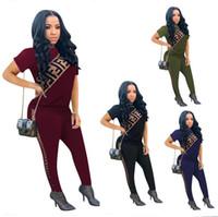 camisas regulares para mulheres venda por atacado-2019 Marca Designer Mulheres Agasalho F carta Imprimir 2 pcs Conjunto de Manga Curta T Camisas + Calças Lápis Esporte Terno Ao Ar Livre Sexy Marca Outfit A341