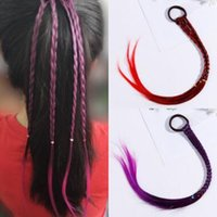 Wholesale beauty ponytails resale online - 4 Colors Girls Colorful Wigs Hairbands Ponytail Ornament Headbands Rubber Bands Beauty Bands Headwear Kids Hair Accessories CCA11269