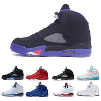 a7e764087714 Zapatillas de hombre 5 zapatillas de baloncesto 5s blanco cemento negro  metálico rojo azul zapatillas Oreo Ope color bel Oreo para hombres  entrenador 7-13