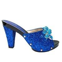 keile 12cm ferse großhandel-Modische Königsblau Frauenpumpen mit Kristallperlenverzierung afrikanische Absatzschuhe für Kleid V2083-2, Ferse 12CM