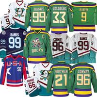conway jersey venda por atacado-Mighty Ducks Filme Jersey 9 Paul Kariya 96 Charlie Conway 99 Adam Banks 66 Gordon Bombay 33 Greg Goldberg Hockey Jersey S-3XL