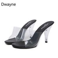 ingrosso pantofole sexy delle donne-Dwayne Sexy Super High Heel Slides 10CM7CM Nightclub Trasparente Pantofole PVC Womens Dress Shoes Dropshiping Plus Size 34-45