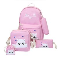 Wholesale cat canvas backpack korean resale online - 2019 new luxury designer backpack Korean version of the cartoon cute cat five piece backpack high junior high school students bag tide3
