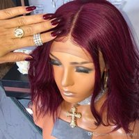 Wholesale wine red short hair resale online - Burgundy Wine Red Color Middle Part Short Bob Wig Density Body Wave Heat Resistant Hair Glueless Synthetic Lace Front Wigs For Women