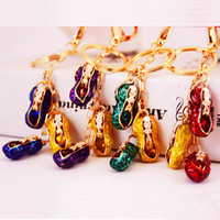 Wholesale peanuts chain resale online - New Arrival D Enamel Alloy Peanut bag accessories pendant key chain Fashion Car Key Ring Party Gift