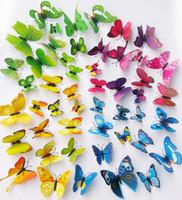 kelebekler 3d duvar dekorasyonu toptan satış-3D Kelebek Duvar Çıkartmaları 12 ADET Çıkartmaları Ev Dekor Için Buzdolabı Mutfak Odası Oturma Odası Ev Dekorasyon EEA384