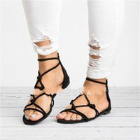 Wholesale zipper back shoes for sale - Group buy Sexy Peep Toe Sandals Summer Female Shoes Thin Belt Flat Shoe Back Zipper Cross Bandage Rubber Comfort Breathable Solid Color sl C1