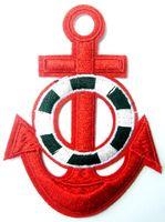 ancre de fer rouge achat en gros de-Red Anchor Tattoo Marine Biker Rétro bateau bateau mer coudre applique fer à repasser patch sur les correctifs (Taille: environ 2.1 * 3.1 pouces)