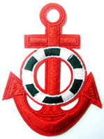 âncora de ferro vermelho venda por atacado-Red Anchor tattoo navy biker retro ship boat sea costurar apliques de ferro em remendos de ferro em remendos (tamanho: cerca de 2,1 * 3,1 polegadas)