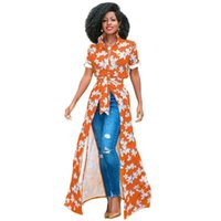 Wholesale piece short sweetheart for sale - Women African Print Shirt Dress Floral Print Turn Down Collar Short Rolled Sleeve Wrap Dress Buttons Maxi Gown Casual One Piece