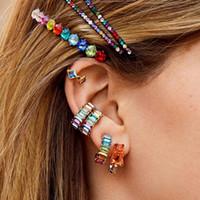 Wholesale korean shiny earrings for sale - Group buy Fashion Bohomain Glass Crystal Hoop Earrings for Women Korean Multicolor Ethnic Shiny Flower Earring Jewery High Quality Travel