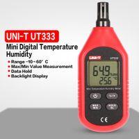 medidor de humedad higrómetro al por mayor-UNI-T UT333 Mini Digital LCD Temperatura del aire Humedad TEMP / HR Medidor Termómetro electrónico Higrómetro Medidor de humedad