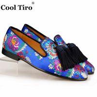 Cool Tiro Jacquard Canvas Slippers Men Loafers Silk Tassels Men s Flats  Wedding Dress Shoes Leather Smoking Slip on Moccasins  7766 17b2f428d477