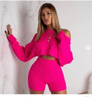 bb1b18dc3e7 Women Two Piece Outfits Autumn Winter New Net Red Suit Women Sexy Shorts  Round Collar Woven Long Sleeve Shorts 2 Piece Woman Set