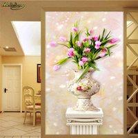 tulipán mural al por mayor-La foto de encargo del papel pintado de la pared de papel mural de la pared etiqueta estéreo 3D Jade Tulip Jarrón Romano Polo Mural Papel de parede 3D