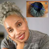 gri dokuma saç toptan satış-100% doğal Gerçek saç gri saç örgü at kuyruğu afro kinky kıvırcık klip gri saç İnsan siyah kadınlar için İpli midilli kuyruk uzatma