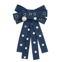 Wholesale handmade clothes woman online - 2019 New fantastic personality Fabric cowboy Bowknot Brooches Pins Tie Necktie Handmade bow Brooch for Women Clothing Jewelry
