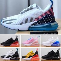 sapatos botas arco íris venda por atacado-Nike air max 270 27c 2019 rainbow 27o crianças shoes para meninos meninas bebê crianças botas cinza branco air casual shoes eur 28-35