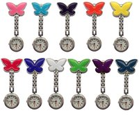 Wholesale butterfly shaped watch resale online - 10pcs butterfly design shape unisex women ladies pocket watches hang clip hang quartz watches