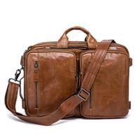 bolsa de couro para laptop maleta mens venda por atacado-Couro Couro Maleta Mens Bolsas de Couro Genuíno Sacos Crossbody Sacos de Homens de Negócios de Alta Qualidade de Luxo Mensageiro Laptop