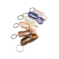подвески для балетной обуви оптовых-Балетные пуанты Foottip Key Chain Мини обуви Балетный брелок сатин Pointe Ключевой Holder танцевальная обувь сумка Шарм Подвеска