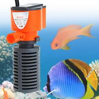 agua pulverizada con aire al por mayor-Filtro de acuario silencioso 3 en 1 Bomba interna de oxígeno sumergible Esponja Agua con spray de lluvia para tanque de peces Aumento de aire 3 / 5W