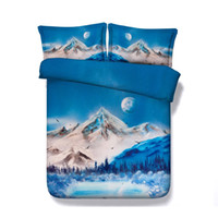 Wholesale lake bedding set for sale - Group buy Mountain Trees Lake pc Duvet Cover Set With Pillow Shams Forest Snow Bedding Winter Landscape Sunset Blue Galaxy Bed Cover Universe Bird
