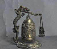 monge de metal venda por atacado-china bronze fengshui sorte dragão budista monge estátua de buda Zhong Bell Chung