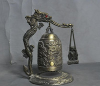 bronz dragon heykelleri toptan satış-Çin bronz fengshui şanslı ejderha Budist keşiş buda heykeli Zhong Bell Chung
