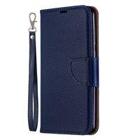 valse de porte-monnaie achat en gros de-Flip Cover Stand Portefeuille Pour Samsung Galaxy A20 Cas Pure Color Motif Lichee PU Cuir Téléphone Cas Pour Samsung Galaxy A30
