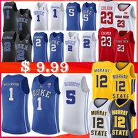 camisetas de baloncesto azul al por mayor-1 Sion Williamson NCAA 12 Ja Morant Duke Blue Devils Jersey 5 RJ Barrett 2 Cam rojizo Murray State College Baloncesto Jersey Laettner