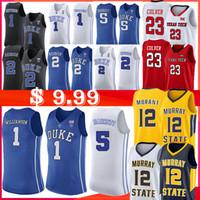 laettner maillot achat en gros de-1 Zion Williamson NCAA 12 Ja Morant Duke Blue Devils Jersey 5 RJ Barrett 2 Cam Murray rouquine State College Basketball Jersey Laettner