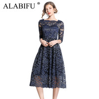Wholesale elegant sexy casual wedding dresses resale online - ALABIFU Long Summer Dress Women Sexy Ball Gown Lace Dress Plus Size Elegant Wedding Bridesmaid Party Dress Vestidos XL