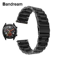 banda de reloj huawei al por mayor-Bandream Banda de reloj de acero inoxidable de liberación rápida para Huawei Reloj Gt Banda de reemplazo Correa de muñeca Pulsera de metal negro plata T190620