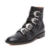 резиновые сапоги оптовых-Плоские ботинки с заклепками, толстые ретро, одинокие женские ботинки Martin, классические британские короткие сапоги и женские сапоги.