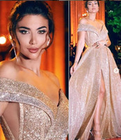 vestido formal e brilhante venda por atacado-Sexy Sparkly Barato 2019 Vestidos de Noite Árabe Querida A linha de Lantejoulas Vestidos de Baile Elegante Formal Do Partido Da Dama de honra Vestidos Pageant