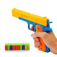 Wholesale soft bullets gun resale online - Children s toy gun Colt toy pistol with colored soft bullets bursts ejection magazine and pull back action random colors