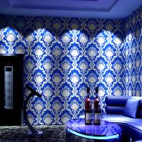 Wholesale luxury gold wallpaper resale online - 10m long cm wide European wallpaper luxury high end atmosphere ktv reflective d flash karaoke theme box corridor gold foil wallpaper