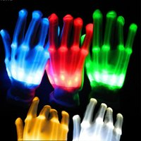 ingrosso scheletri danzanti-1 pz Guanti luminosi LED unici Illuminazione lampeggiante Finger Glow Flash Guanti scheletro colorati Dancing Club Puntelli Forniture per feste