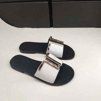 Wholesale black white flat buttons resale online - New Designer Lady Summer Flat soled Golden Button Beach Slippers Lady Designer Leather Flat soled Slippers Belt Box