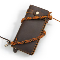 Wholesale notes block resale online - Men Purse Newest RFID Blocking Card Holder Mens Cow Leather Long Wallet With Theftproof Chain Casual Popular Man Wallet