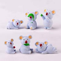 ingrosso albero fiore viola-12 pz / lotto mini koala figurine animali in miniatura fata giardino decorazione della casa ornamenti del fumetto in resina giocattoli regalo
