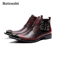 Wholesale cowboy boots wedding dress online - NEW Korean Type Fashion Men Boots botas hombre Leather Dress Boots Pointed Metal Tip Wine Red Party and Wedding Boots Men
