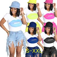 Wholesale ladies sports t shirts resale online - Women T Shirt Fashion Lips Printed Short Sleeves T shirt Tee Tshirts White T Tops Casual Sports casual Lady Clothes S XXL D61002