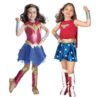 Wholesale wonder woman costume dress for sale - Wonder Woman Cosplay Children s Performing Clothes Game animation role playing Halloween costume Super heroine Festival dress