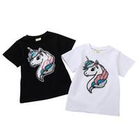 kızlar beyaz tişörtler toptan satış-Toptan Pamuk erkek kız çocuklar t shirt yaz rahat t gömlek kısa kollu karikatür unicorn sequins tişörtleri beyaz siyah çocuk giysileri